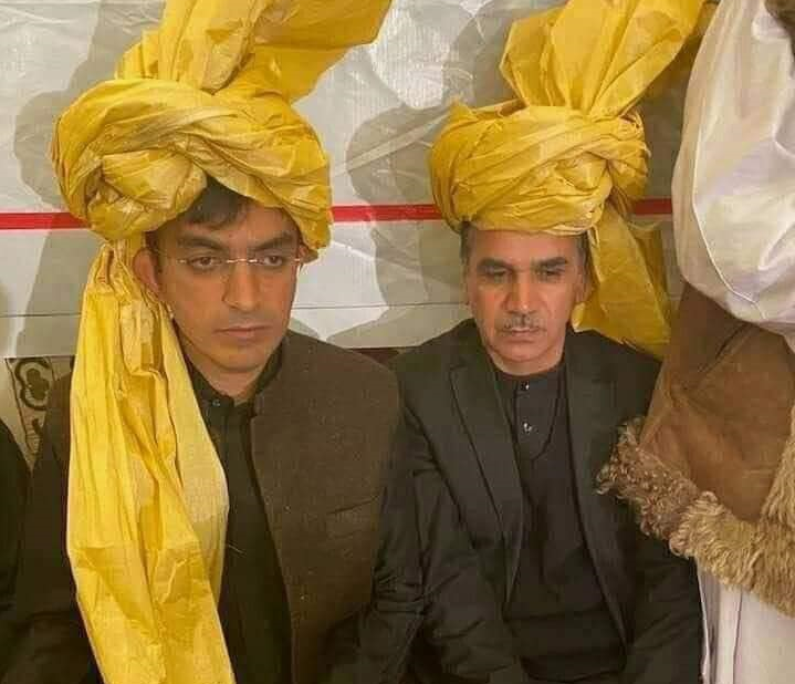 Left to Right: Pashtun Tahafuz Movement (PTM) leader, Mohsin Dawar, and Afghan nationalist leader Ismail Youn on occasion of inauguration ceremony of Afghan President Ashraf Ghani Ahmadzai in Kabul, Afghanistan (2020)