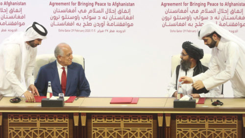 US.Envoy-Zalmay.Khalilzad-and-Taliban-Terrorists-Faustian-Pact-Doha-Qatar-Feb29-2020