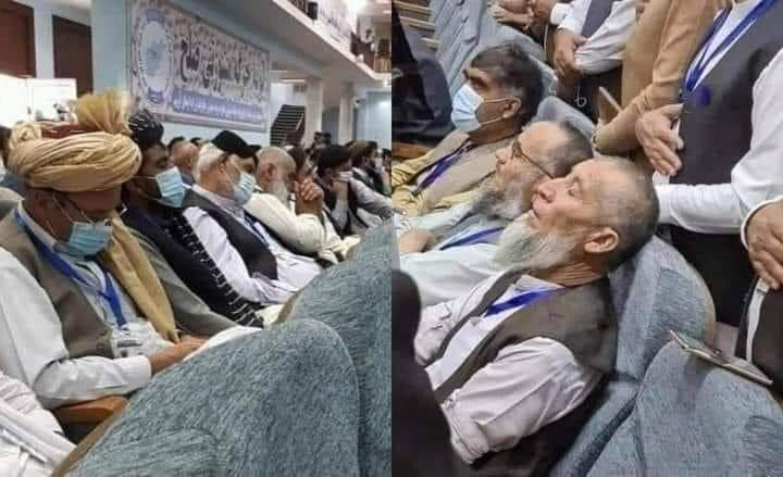 Rows of Loya Jirga members sleeping during proceedings - August 2020